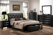 Classically Designed 5Pcs Queen King Bed Room Furniture Set In BlackFaux Leather