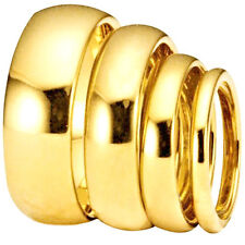 Stainless Steel Shiny Plain Classic Yellow 18K Gold IP Plated Wedding Band Ring