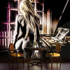 PHOTO WALLPAPER MURALS DECORATIONS ART HOME NEW TREND SEXY LADY PIANO MUSIC 795P