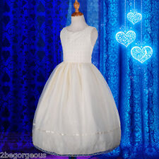 Pearl Embroidery Formal Dress Wedding Flower Girl Communion Ivory Size 6-11 #241