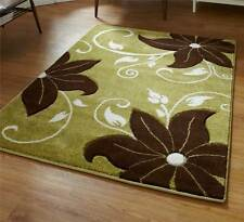 Green and Brown Rug Stunning Floral Flower Pattern Large Rug Heavy Domestic