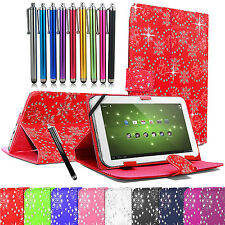 Universal Leather Diamond Bling Stand Case Cover Pouch For All 7 Inch Tablets