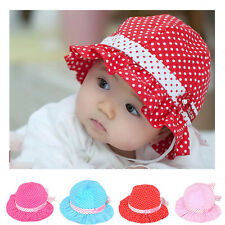 Cute Trottie Infant Baby Girl Polka Dot Cotton Hat Princess Cap Summer Sun Hat