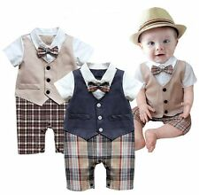 Baby Boy Wedding Christening Formal Dressy Party Tuxedo Suits Outfit Dress 3-18M