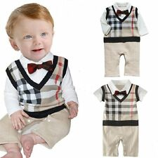 Baby Boy Wedding Tuxedo Christening Formal Checked Suit OnePiece Outfit Clothes