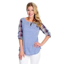 NEW OSO Casuals Slub Knit & Cotton Woven Combo Roll Tab Sleeved Plaid Top S M L