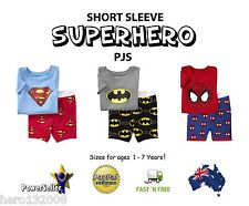 Pyjamas Pjs Superman Spiderman Batman Cotton Age 2-7 boys girls short sleeve