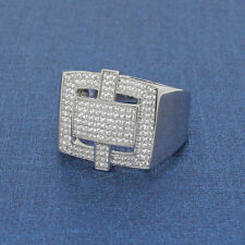 Micro-Pave Mens Ring Solid Hip hop bling ice CZ Lab Dia Sterling Silver 925