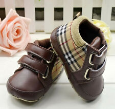 Baby Boy Girl Brown Plaid Soft Sole Crib Shoes Sneakers  Size  0-18 Months