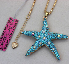 Betsey Johnson Crystal Starfish Charm Pendant Necklace XL-21