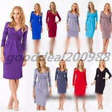 New Sexy Women's Candy Color Maternity Dress Tunic 3/4 Sleeve V-Neck Stretchy