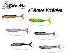 "7"" Bite Me Lures BARRA WEDGIES Gold Minnow Mullet Soft Bait Fishing Lures"