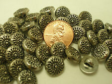 New lot of 12 Electroplated Plastic Silver 7/16 inch (11 mm) Buttons (#M)