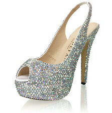 Marc Defang AB Crystals Bridal Wedding Heels shoes Slingbacks