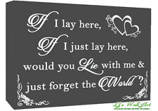 If I Lay Here - Snow Patrol QUOTE Canvas Wall Art Picture Print - Grey