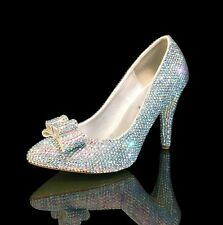 Marc Defang AB Crystals Luxury Bridal Wedding Pumps, heels shoes w Bow Accent