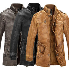 Retro Young Mens PU Leather Overcoat Jackets Motorcycle Trench Coats Peacoat Men