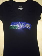 Seattle Seahawks women rhinestone black t-shirt size S M L