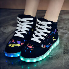Stylish womens fashion sneakers LED Shiny lights lace up high top leisure sport