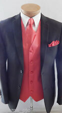 Coral 10X MEN'S Solid Dress Vest Waistcoat & Neck tie & Hankie Wedding Prom