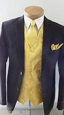 GOLD XS to 6XL Paisley Dress Vest Waistcoat & Neck tie And Pocket Square Wedding