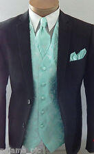 Aqua Green XS to 6XL Men Paisley Dress Vest Waistcoat & Neck tie and Hankie Set