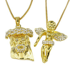 Gold JESUS ANGEL PIECE Combo Set Iced Out CZ Silver Rose Pendant Chain Necklace