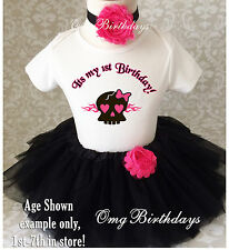 Pink Pirate Skull Baby Girl 1st First Birthday Tutu Outfit Shirt Set Party dress