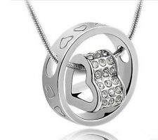 18K White Gold Filled Fashion Jewelry Swarovski Heart Crystal Women New Necklace