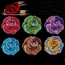 Elegant Wedding Bonquet Crystal Rose Flower Crystal Rhinestone Brooch Pins Gift