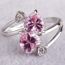 Heart Cut Pink & White Topaz Gemstone Silver Jewelry Women Ring Size 6 7 8 9 10