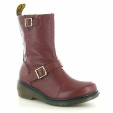 Dr Martens Karin Womens Leather Biker Chukka Boot - Cherry Red