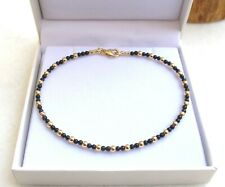 14 k solid yellow gold beads 4 black onyx natural bracelet round genuine men