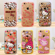 New Melody Hello Kitty Soft TPU+Hard Bumper Clear Case Cover for iPhone 5 6 Plus