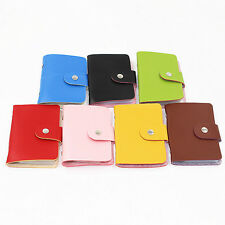 Unisex Pu Leather Pocket Business Credit ID Card Holder  Wallet for 24 Cards K4