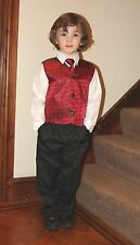 Boys 4 piece Suits with Burgundy and Silver Waistcoats