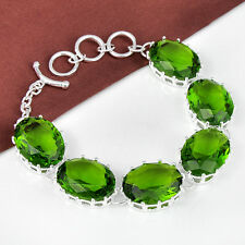"TOP Beautiful Oval Cut Green Peridot Gemstone Silver Bracelet 7 7/8"" Lovely GIFT"
