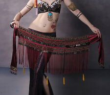 Belly Dance Costume Hip Scarf Tribal Fringe Tassel Belt&Copper Coins 3 colours