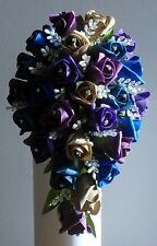 Brides Peacock Indian Style Colours Themed Wedding Flowers Teardrop Bouquet