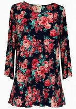 Tunic Ruffled Blouse Pink Rose Pattern on Navy Blue Background Sizes S M L XL