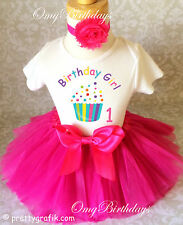 Cupcake Rainbow Pink Girl 1st First Birthday Tutu Outfit Shirt Party dress