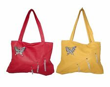 LIGHT-WEIGHT SHOULDER HANDBAG TOTE PURSE FAUX FAKE LEATHER BUTTERFLY DESIGN -NEW