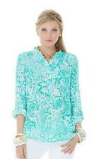 lilly pulitzer Delray Tunic silk blouse Green