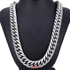 Huge 20mm Heavy Stainless Steel Silver Curb Chain Necklace Bracelet Mens Jewelry
