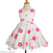 Floral Diamond Flower Girl Dresses Wedding Bridesmaid Party Holiday 2-10y FG318