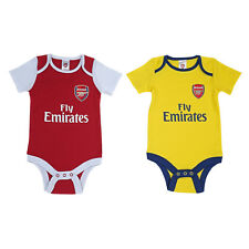 Arsenal FC Official Football Gift 2Pk Home Away Kit Baby Bodysuits Red White