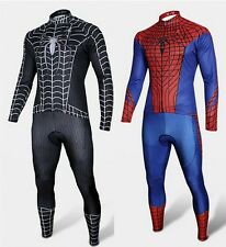 "New ""Spider-Man"" Kid's Cycling Long Sleeve Jersey + BIB Tights With 3D Padded"