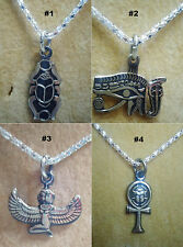 Egyptian Brass Necklace Pendant Ancient Horus Eye Scarab Ankh Isis Wings Jewelry