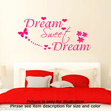 Dream Sweet Dreams Vinyl Art Wall Quote Stickers Wall Decals Removable Wall Art