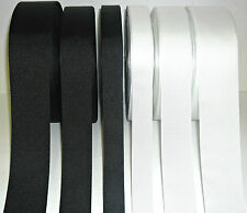 TOP QUALITY SHINY GROSGRAIN RIBBON, BLACK/WHITE 5 MTRS, CHOOSE WIDTH- 25MM-50MM